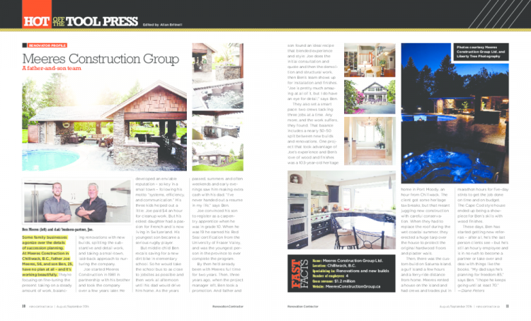 Renovation Contractor Magazine August 2015